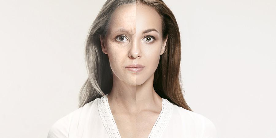 Comparison portrait of beautiful woman.